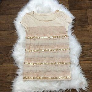 LOFT lace sequin tiered tee champagne top small